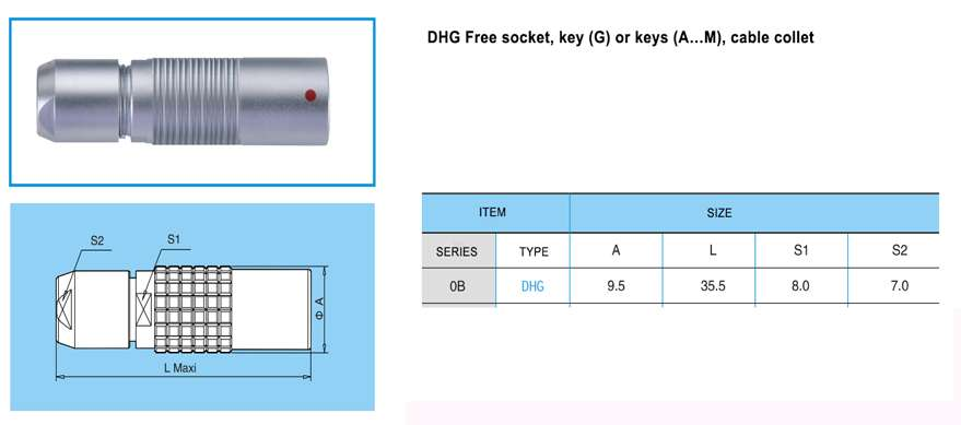 DHG.0B Free socket, key (G) or keys (A…M and R), cable colle t
