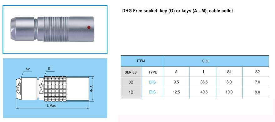 DHG.1B Free socket, key (G) or keys (A…M and R), cable colle t