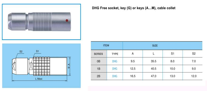 DHG.2B Free socket, key (G) or keys (A…M and R), cable colle t