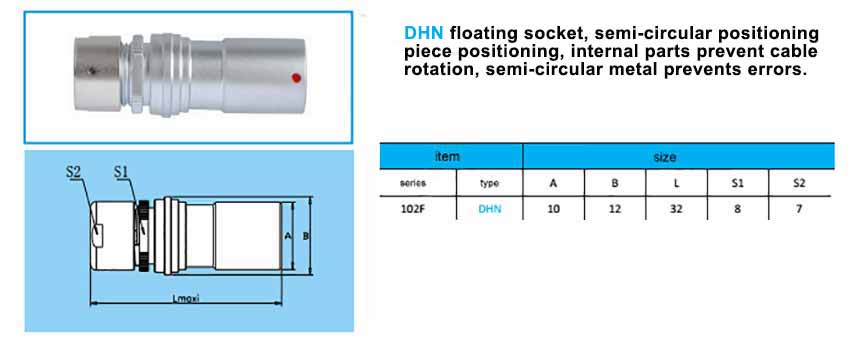 DHN.102F Free Socket are replacement with fischer-PKBE-102-series-connector ,with arc-shape metal guides, collet style clamp system for cable