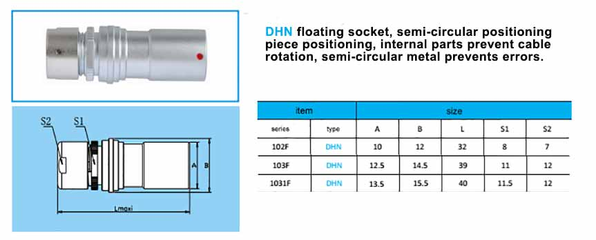DHN.1031F Free Socket are analogues of fischer-PKBE-1031-series-connector ,with arc-shape metal guides, collet style clamp system for cable