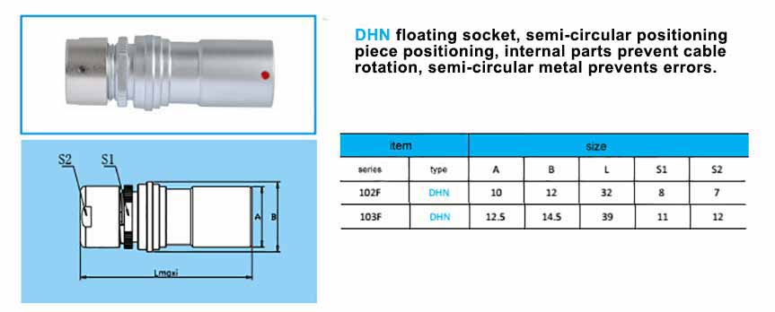 DHN.103F Free Socket are compatible with fischer-PKBE-103-series-connector ,with arc-shape metal guides, collet style clamp system for cable