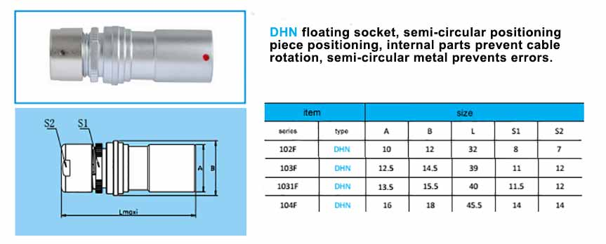 DHN.104F Free Socket are equivalent with fischer-PKBE-104-series-connector ,with arc-shape metal guides, collet style clamp system for cable