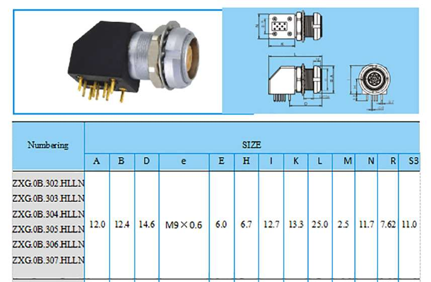 EXG.0B construction and size, Elbow (90°) socket for printed circuit with two nuts, (solder or screw fixing (back panel mounting)