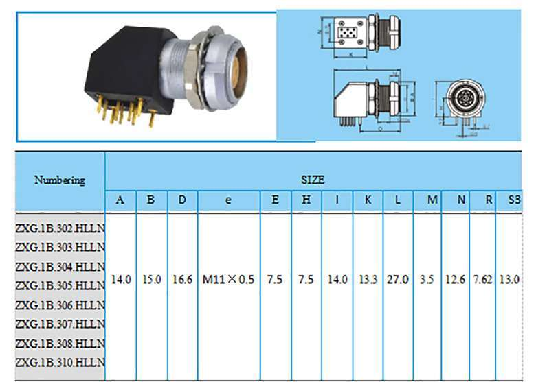 EXG.1B construction and size, Elbow (90°) socket for printed circuit with two nuts, (solder or screw fixing (back panel mounting)