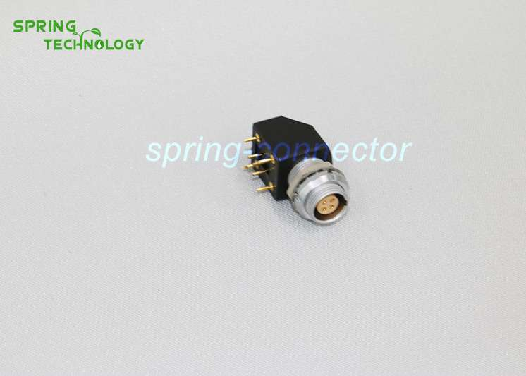 EXG.1B lemo compatible connector, Elbow (90°) socket for printed circuit with two nuts, (solder or screw fixing (back panel mounting)