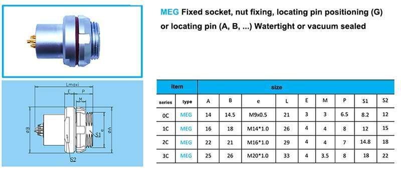 MEG push-pull watertight connector, MEG Fixed socket, nut fixing, key (G) or keys (A, B...), watertight or vacuumtight