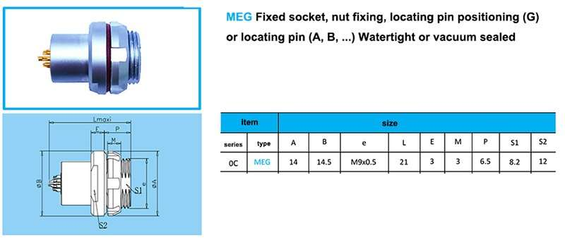 MEG.0C Fixed socket, nut fixing, watertight or vacuumtight