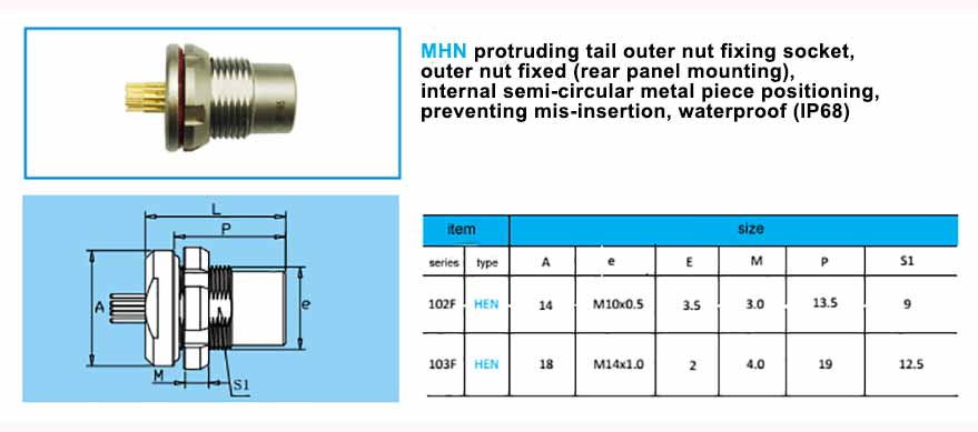 MHN Front Projecting Socket, back panel mounting, with arc-shape metal guides. waterproof (IP68)