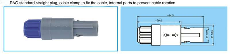 PAG redel 1P series straight plug with cable collet