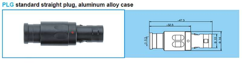 PLG Redel 1P series Straight plug,out shell aluminum alloy, cable collet and nut for fitting a bend relief