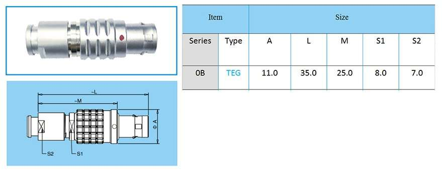 TEG/FEG.0B circular connector, straight plug, key (G) or keys (A…L), cable collet, front seal and nut for fitting a bend relief (IP 54 protection index when mated)