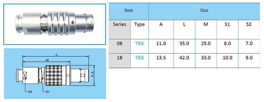 TEG/FEG.1B circular connector, straight plug, key (G) or keys (A…L), cable collet, front seal and nut for fitting a bend relief (IP 54 protection index when mated)