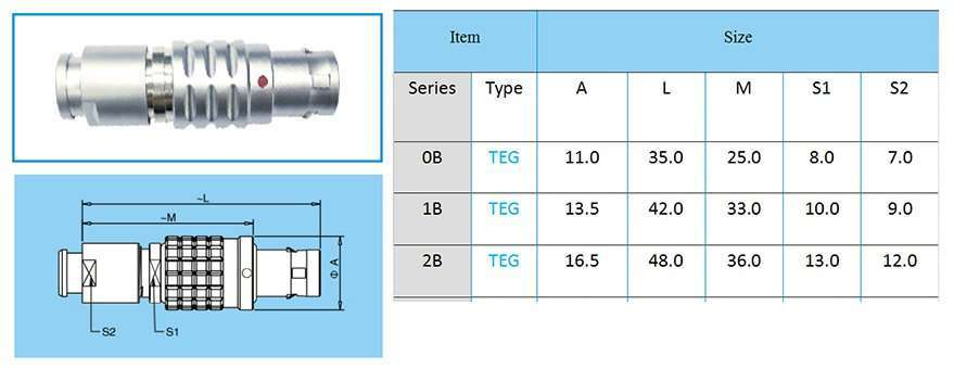 TEG/FEG.2B metal connector, straight plug, key (G) or keys (A…L), cable collet, front seal and nut for fitting a bend relief (IP 54 protection index when mated)