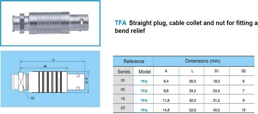 TFA/FFA plug-push multipoles connector, straight plug, cable collet and nut for fitting a bend relief.