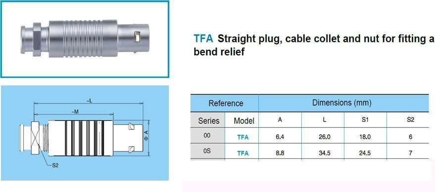 TFA.0S Straight plug, cable collet and nut for fitting a bend relief