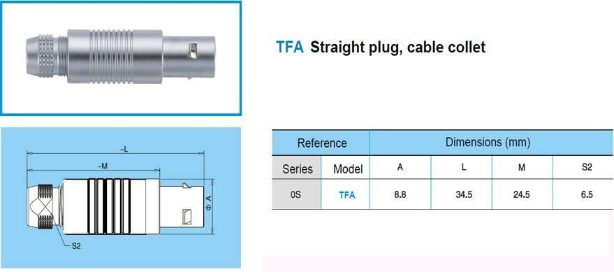 TFA.0S Straight plug, cable collet