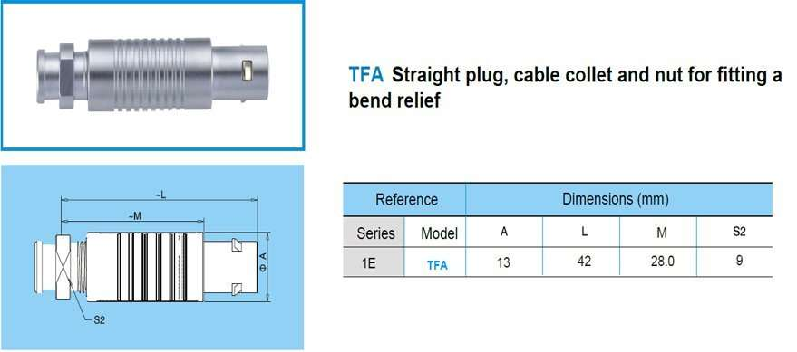 TFA/FFA.1E push-pull watertight connector, straight plug, cable collet and nut for fitting a bend relief.