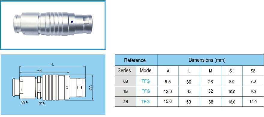 TFG/FFG straight plug, non-latching, key (G) or keys(A…M), cable collet and nut for fitting a bend relief