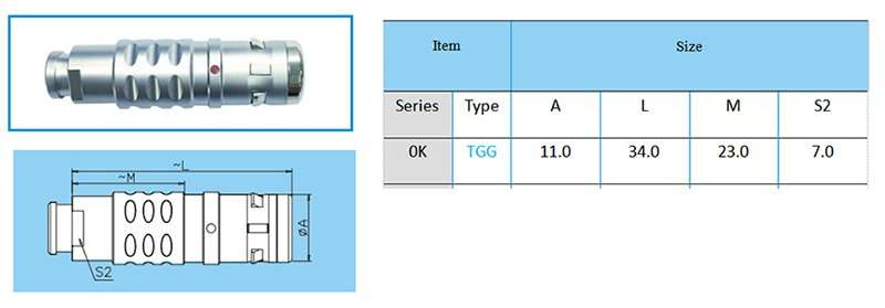 TGG.0K Straight plug, key (G) or keys (A to F, L and R), cable collet and nut for fitting a bend relief
