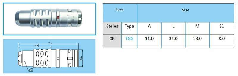 TGG.0K Straight plug, key (G) or keys (A to F, L and R), cable collet