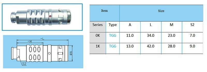 TGG.1K Straight plug, key (G) or keys (A to F, L and R), cable collet and nut for fitting a bend relief