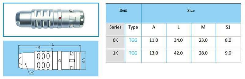 TGG.1K Straight plug, key (G) or keys (A to F, L and R), cable collet