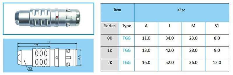 TGG/FGG Watertight Straight Plug, key (G) or keys (A to F, L and R), cable collet