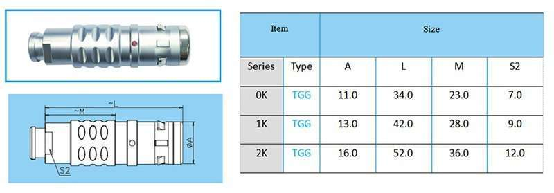 TGG/FGG Straight Watertight Plug, key (G) or keys (A to F, L and R), cable collet and nut for fitting a bend relief