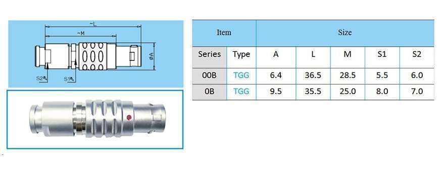 TGG/FGG.0B circular connector, straight plug, key (G) or keys (A M), cable collet and nut for fitting a bend relief