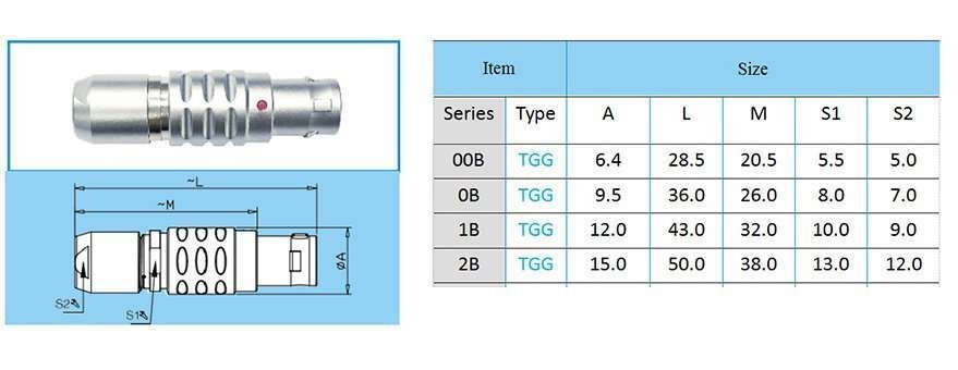 TGG/FGG.2B push-pull self-locking connector, straight plug, key (G) or keys (A…M and R), cable collet
