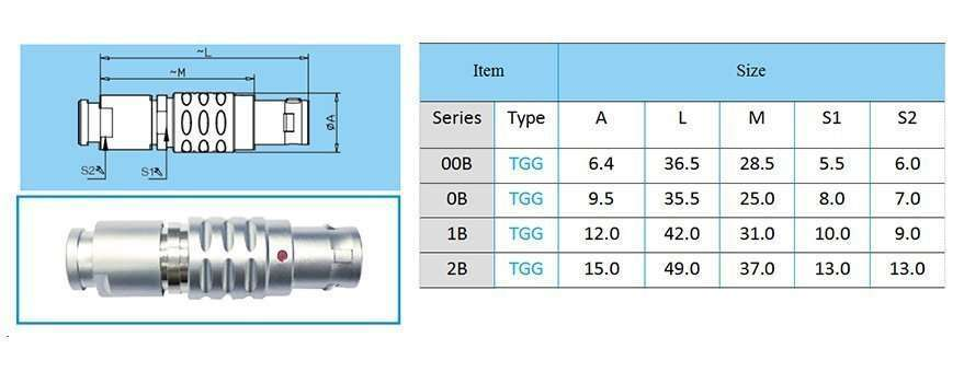 TGG/FGG.2B connector, straight plug, key (G) or keys (A M), cable collet and nut for fitting a bend relief