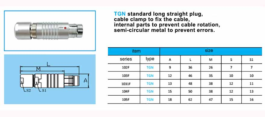 TGN waterproof connector, straight long plug, cable collet, with arc-shape metal guides, collet style clamp system for cable.(without bend relief)