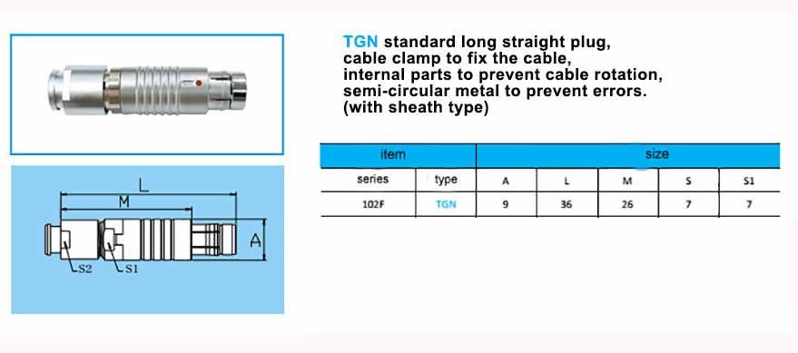 TGN.102F Straight long plug, cable collet and nut for fitting a bend relief,with arc-shape metal guides, collet style clamp system for cable.