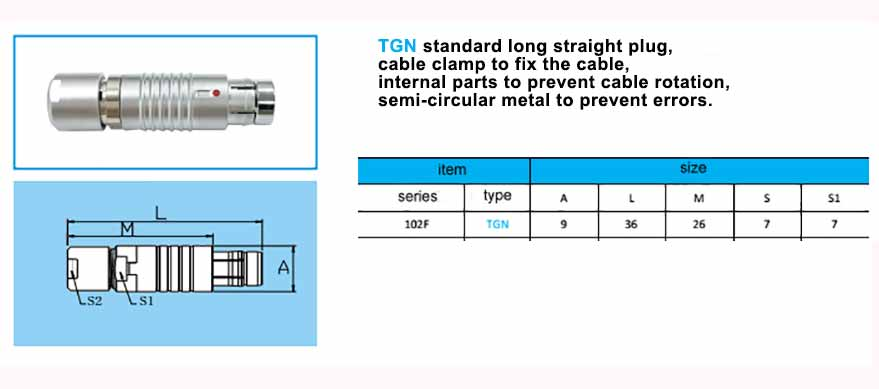TGN.102F Straight long plug, cable collet, with arc-shape metal guides, collet style clamp system for cable. (without bend relief)
