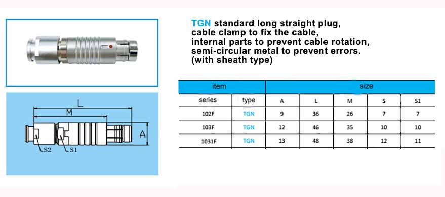 TGN.1031F Straight long plug, cable collet and nut for fitting a bend relief,with arc-shape metal guides, collet style clamp system for cable.