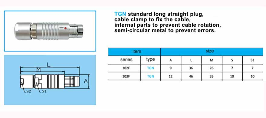 TGN.103F Straight long plug, cable collet, with arc-shape metal guides, collet style clamp system for cable