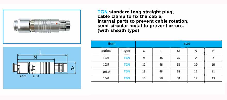 TGN.104F Straight long plug, cable collet and nut for fitting a bend relief,with arc-shape metal guides, collet style clamp system for cable.