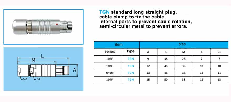 TGN.104F Straight long plug, cable collet, with arc-shape metal guides, collet style clamp system for cable