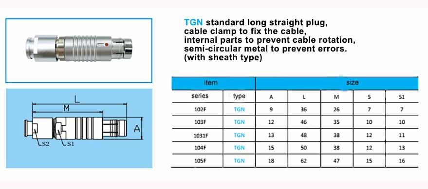 TGN waterproof multipoles connector, Straight long plug, cable collet and nut for fitting a bend relief,with arc-shape metal guides, collet style clamp system for cable.