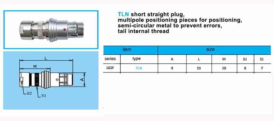 TLN.102F Straight short plug, with arc-shape metal guides,back nut with threaded.