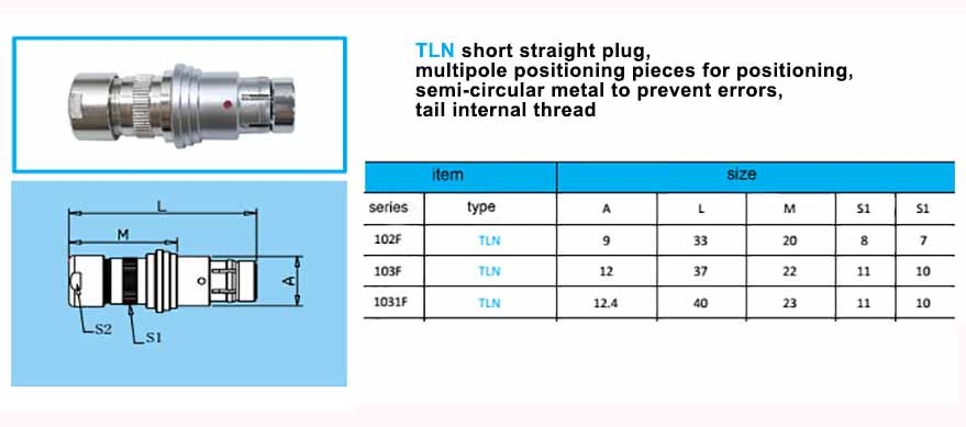 TLN.1031F Straight short plug, with arc-shape metal guides,back nut with threaded.