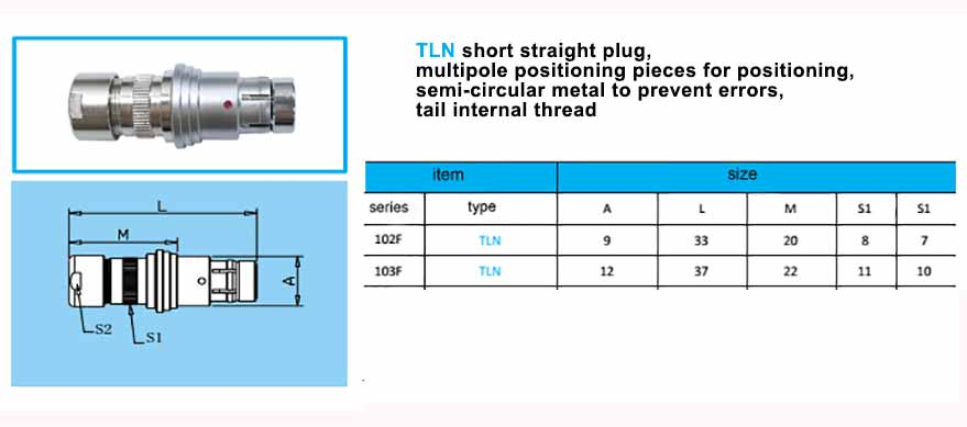 TLN.103F Straight short plug, with arc-shape metal guides,back nut with threaded.