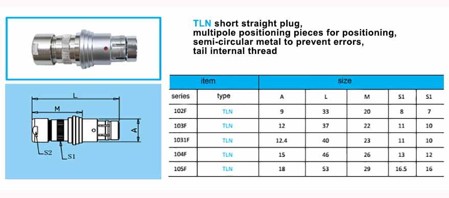 TLN short connector, Straight plug, with arc-shape metal guides,back nut with threaded.