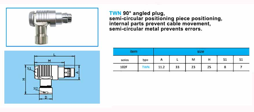 TWN 102F Elbow plug, with arc-shape metal guides, collet style clamp system for cable.