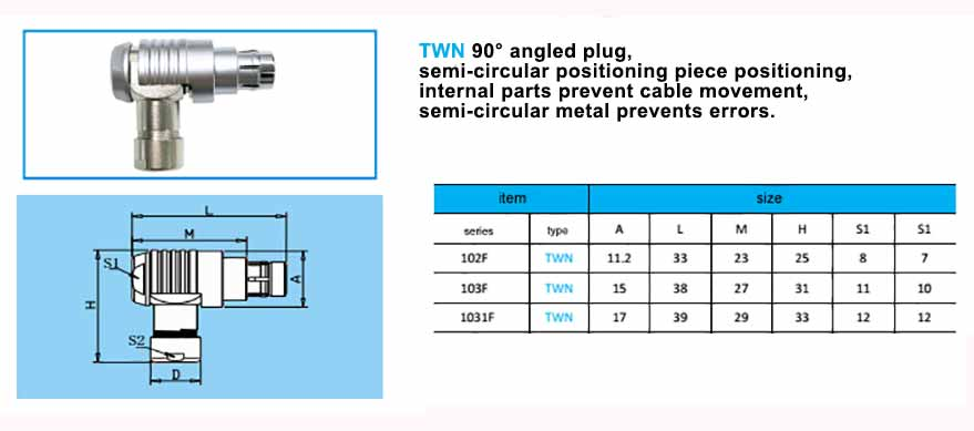 TWN 1031F Elbow plug, with arc-shape metal guides, collet style clamp system for cable.
