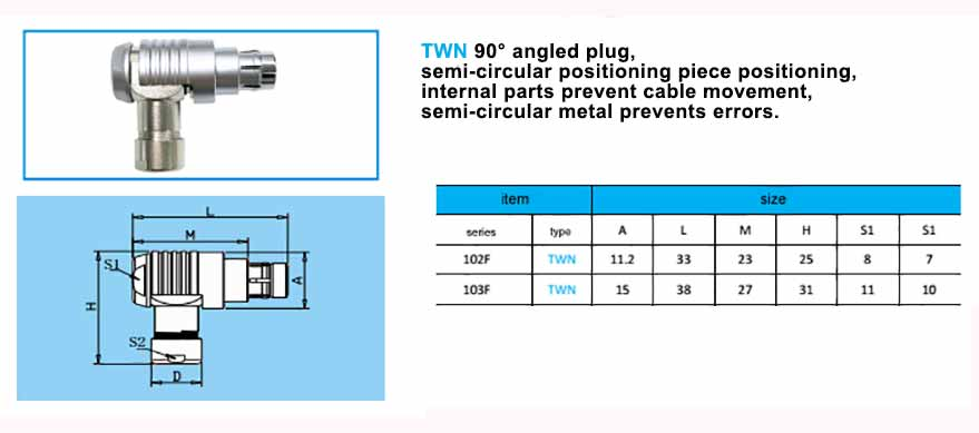 TWN 103F Elbow plug, with arc-shape metal guides, collet style clamp system for cable.