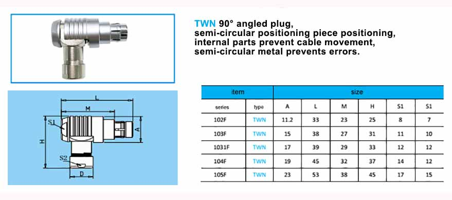 TWN 105F Elbow plug, with arc-shape metal guides, collet style clamp system for cable.