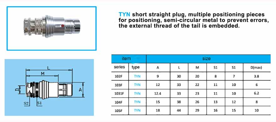 TYN Short Waterproof Connector, straight plug, with arc-shape metal guides,back nut with threaded.