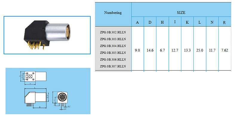 ZPG.0B construction and size, Elbow (90°) socket for printed circuit,(solder or screw fixing)